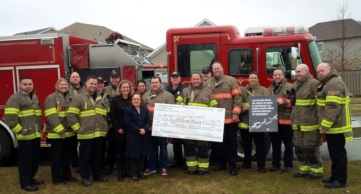 Cambridge Fire Fighters Supporting Haven House Rebuild